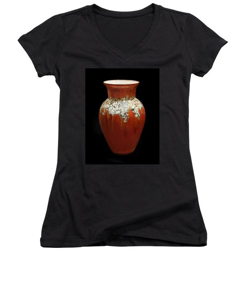 Red And White Vase Women's V-Neck (Athletic Fit)