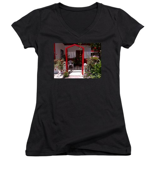 Red Arch On Lesvos Women's V-Neck
