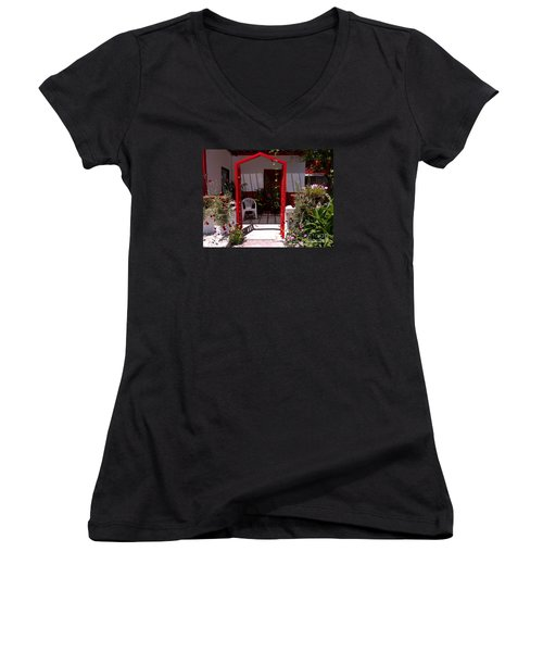 Red Arch On Lesvos Women's V-Neck T-Shirt