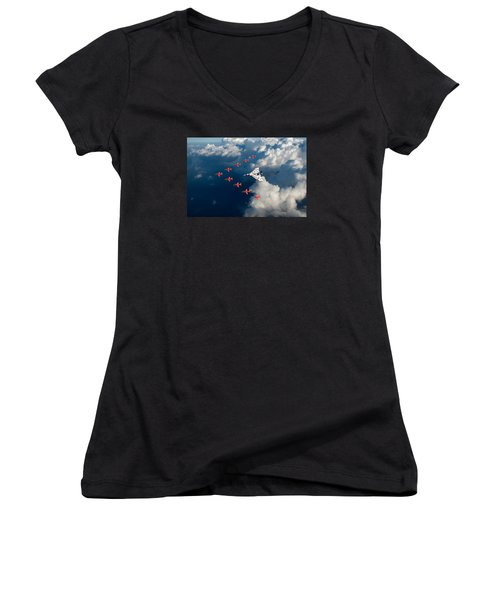 Red Arrows And Vulcan Above Clouds Women's V-Neck