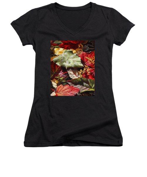 Red Autumn - Wasilla Leaves Women's V-Neck