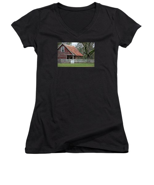 Red Barn With A Rin Roof Women's V-Neck (Athletic Fit)