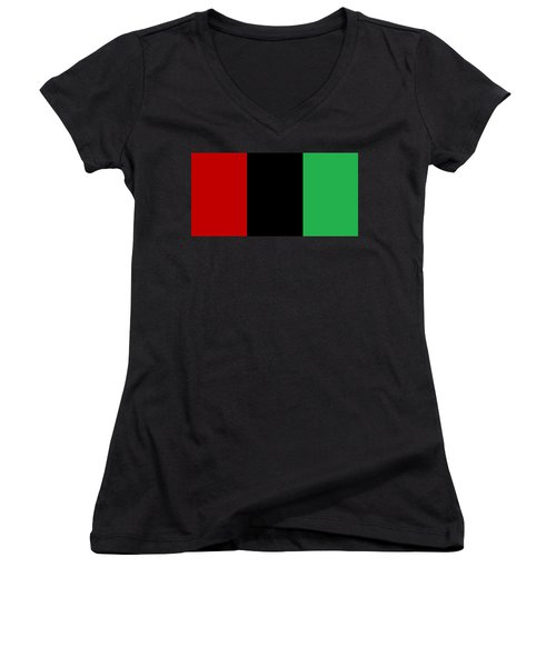 Red Black And Green Women's V-Neck