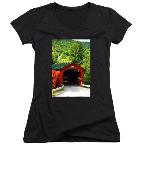 Red Bridge Green Mountains Women's V-Neck T-Shirt (Junior Cut) by James Kirkikis