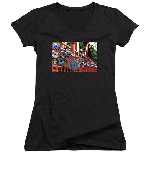 Women's V-Neck T-Shirt (Junior Cut) featuring the photograph Red Bridge Locks by Christopher McKenzie