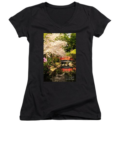 Red Bridge Reflection Women's V-Neck T-Shirt (Junior Cut) by James Eddy