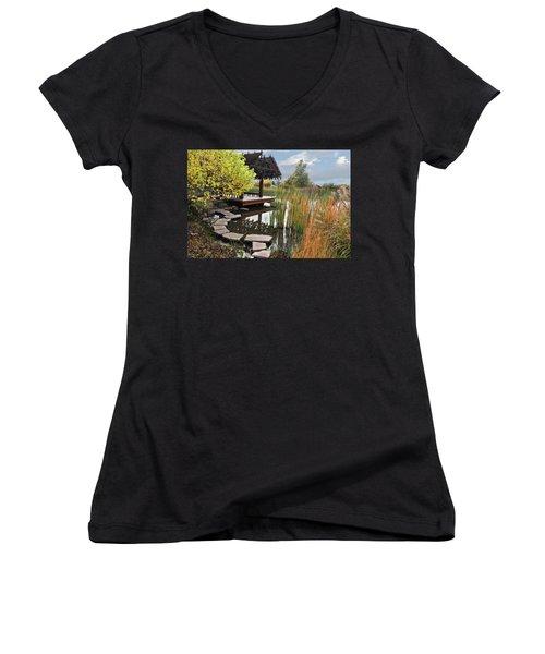 Red Butte Gardens Women's V-Neck T-Shirt (Junior Cut) by Utah Images