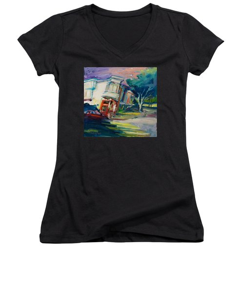 Red Cafe Women's V-Neck T-Shirt