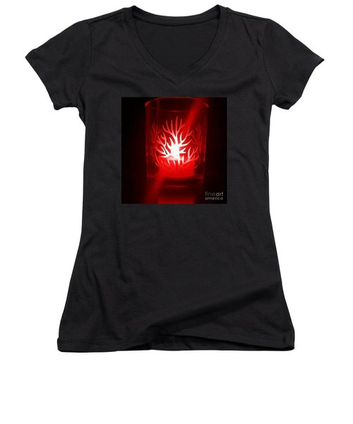 Red Candle Light Women's V-Neck T-Shirt