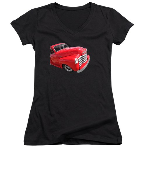 Red Chevy Pickup Women's V-Neck (Athletic Fit)