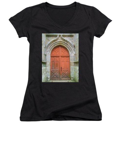 Red Church Door IIi Women's V-Neck T-Shirt (Junior Cut) by Helen Northcott