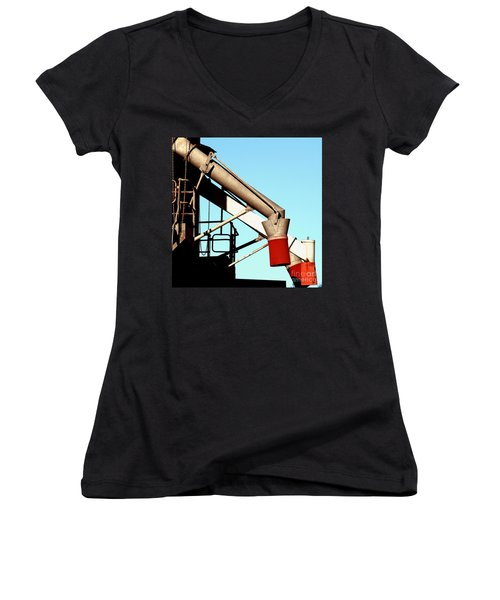 Women's V-Neck (Athletic Fit) featuring the photograph Red Chutes by Stephen Mitchell