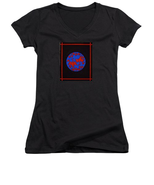 Women's V-Neck T-Shirt (Junior Cut) featuring the painting Red Cranes by Stephanie Moore