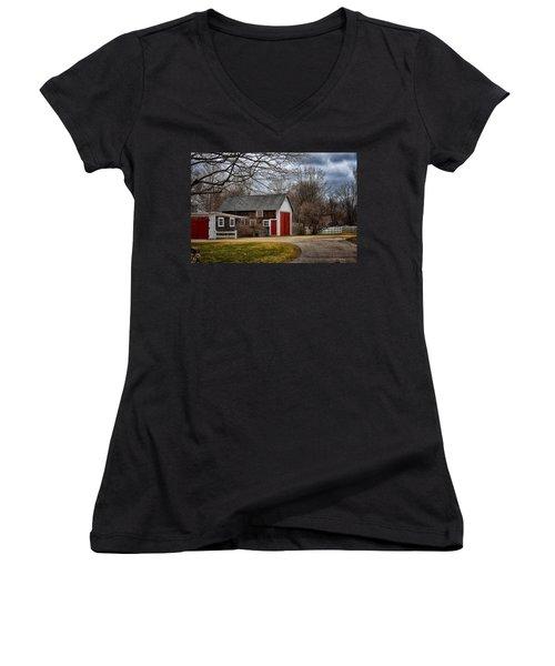 Red Doors Women's V-Neck T-Shirt (Junior Cut) by Tricia Marchlik