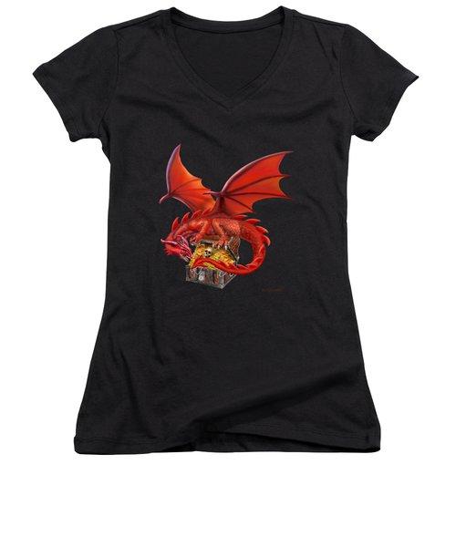 Red Dragon's Treasure Chest Women's V-Neck T-Shirt (Junior Cut) by Glenn Holbrook
