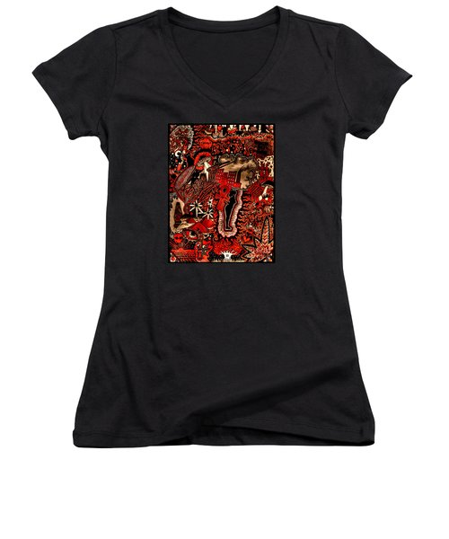 Red Existence Women's V-Neck T-Shirt