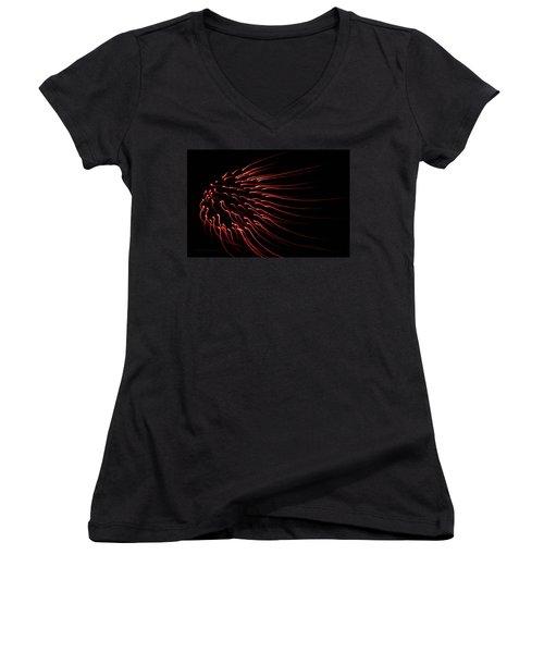 Women's V-Neck T-Shirt (Junior Cut) featuring the photograph Red Firework  by Chris Berry