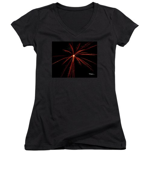 Women's V-Neck T-Shirt featuring the photograph Red Fireworks #0699 by Barbara Tristan