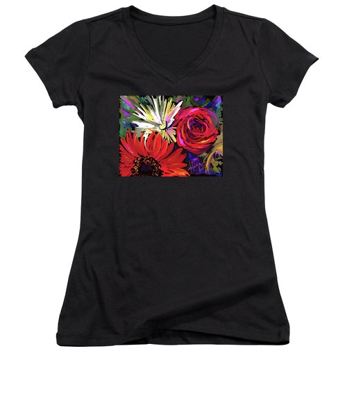 Women's V-Neck T-Shirt (Junior Cut) featuring the painting Red Flowers by DC Langer