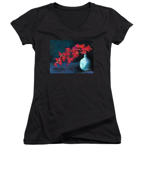 Red Flowers Women's V-Neck T-Shirt (Junior Cut) by Frances Marino