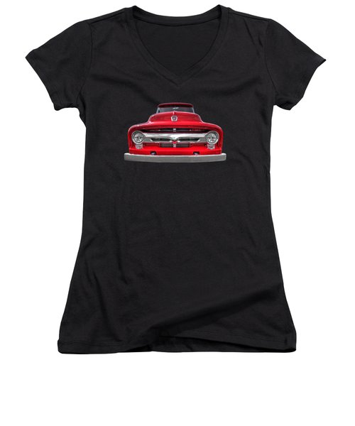Red Ford F-100 Head On Women's V-Neck