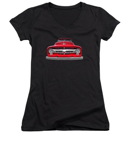 Red Ford F-100 Head On Women's V-Neck T-Shirt