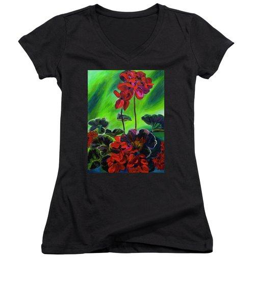 Red Geranium Women's V-Neck T-Shirt