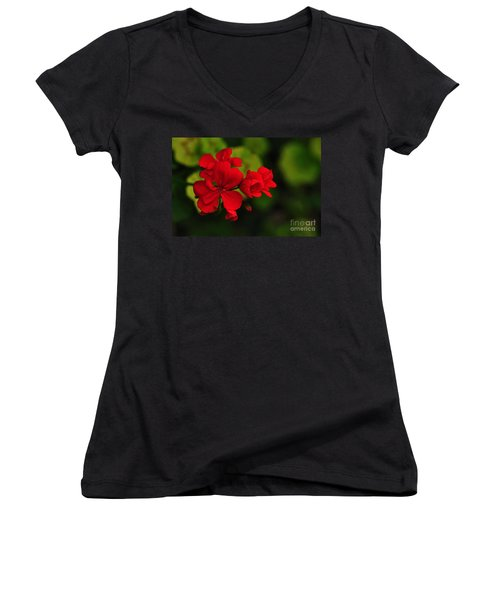 Red Geranium Women's V-Neck