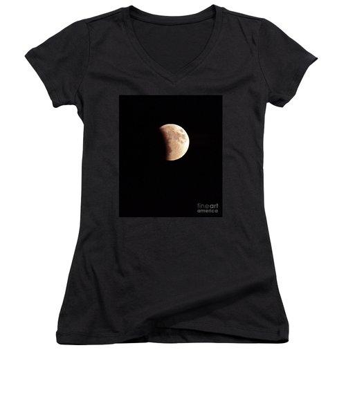 Red Harvest Super Moon Eclipse Women's V-Neck (Athletic Fit)