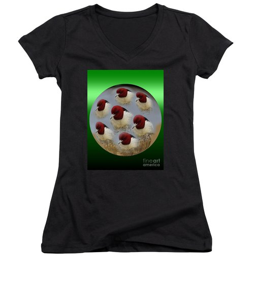 Red Head Women's V-Neck T-Shirt
