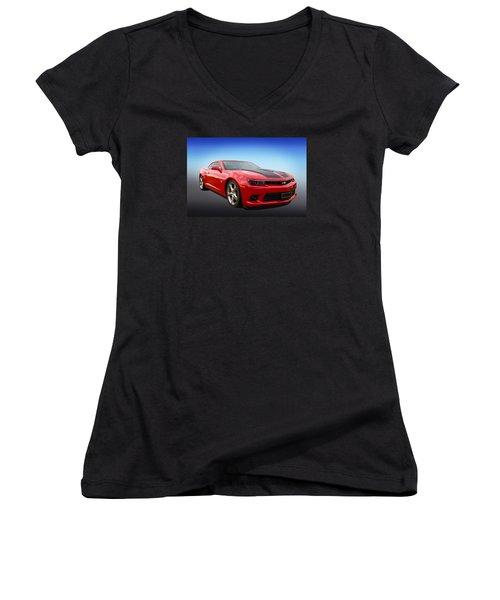 Red Hot Camaro Women's V-Neck T-Shirt (Junior Cut) by Keith Hawley