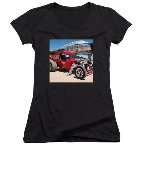 Red Hot Rod Next To Vintage Airplane  Women's V-Neck