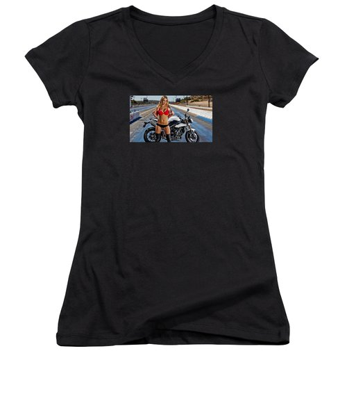 Women's V-Neck T-Shirt (Junior Cut) featuring the photograph Red Is Not Always For Ducati by Lawrence Christopher
