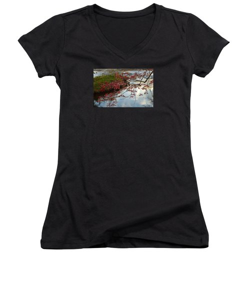 Red Leaves In Falls Park Creek Women's V-Neck T-Shirt