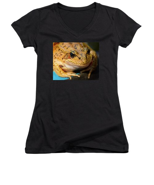 Women's V-Neck T-Shirt (Junior Cut) featuring the photograph Red Leg Frog by Jean Noren