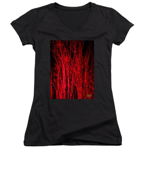 Women's V-Neck T-Shirt (Junior Cut) featuring the digital art Red Magic by Doug Kreuger