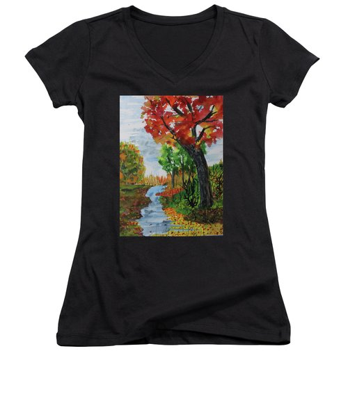 Red Maple Women's V-Neck T-Shirt