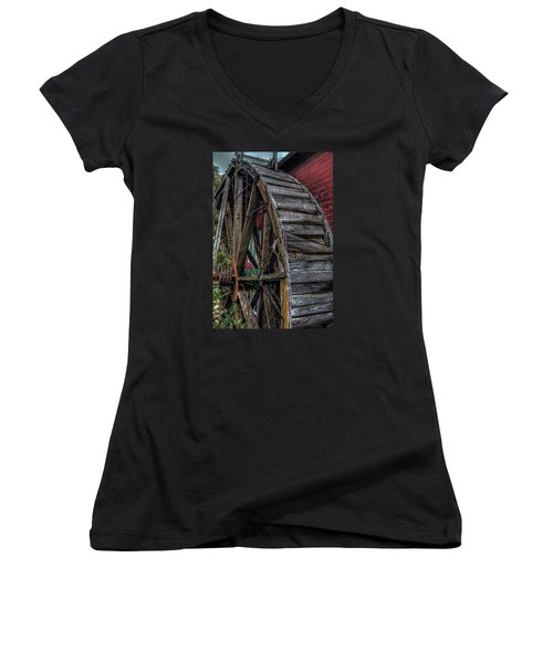 Women's V-Neck T-Shirt (Junior Cut) featuring the photograph Red Mill Wheel 2007 by Trey Foerster