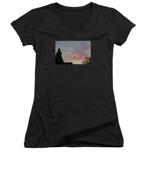 Red Morning Cloud 2 Women's V-Neck T-Shirt