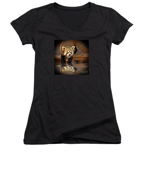 Red Panda Altered Version Women's V-Neck T-Shirt (Junior Cut) by Jim Fitzpatrick