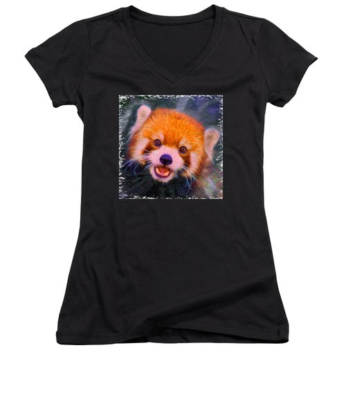 Red Panda Cub Women's V-Neck T-Shirt (Junior Cut) by Caito Junqueira