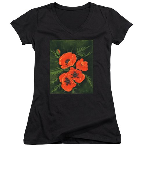 Women's V-Neck T-Shirt featuring the painting Red Poppies by Anastasiya Malakhova