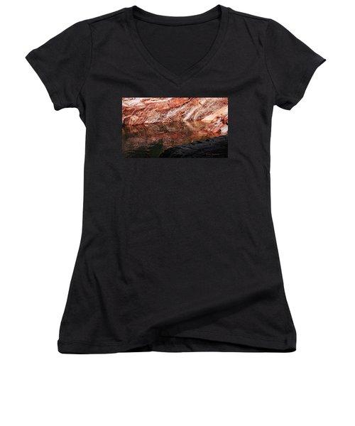 Red River Women's V-Neck T-Shirt (Junior Cut) by Donna Blackhall