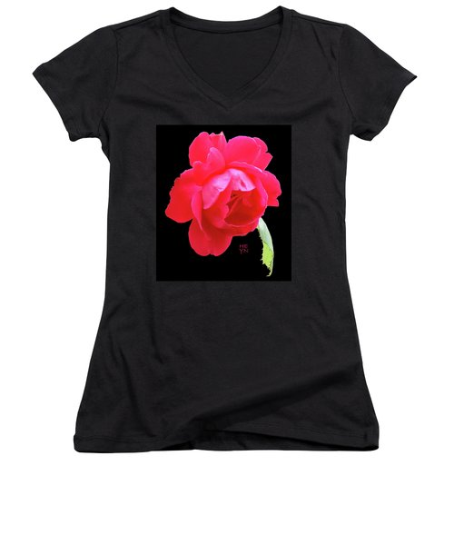 Red Rose Cutout Women's V-Neck (Athletic Fit)