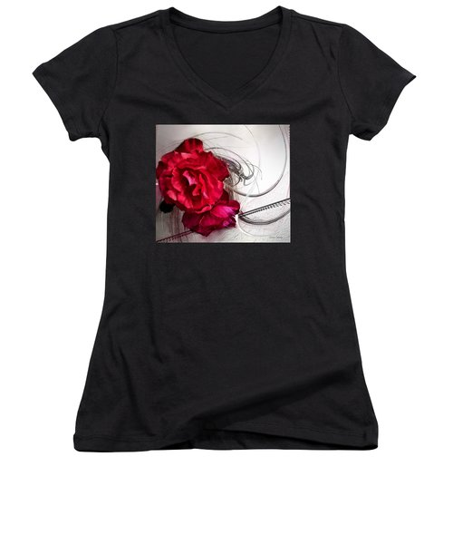 Red Roses Women's V-Neck T-Shirt (Junior Cut) by Susan Kinney