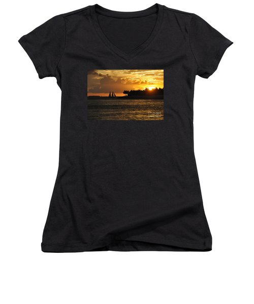 Women's V-Neck T-Shirt (Junior Cut) featuring the photograph Red Sails At Night by John Black