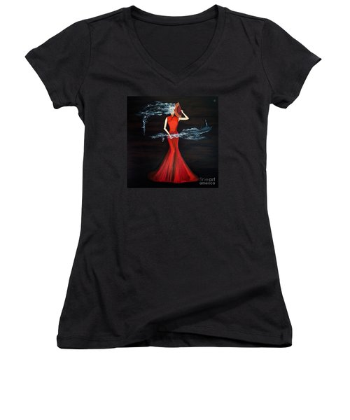Scented Red Color Women's V-Neck (Athletic Fit)
