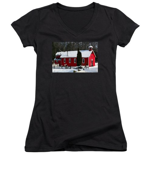 Red Schoolhouse At Christmas Women's V-Neck T-Shirt