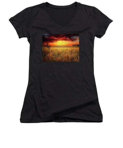 Red Skies Women's V-Neck T-Shirt