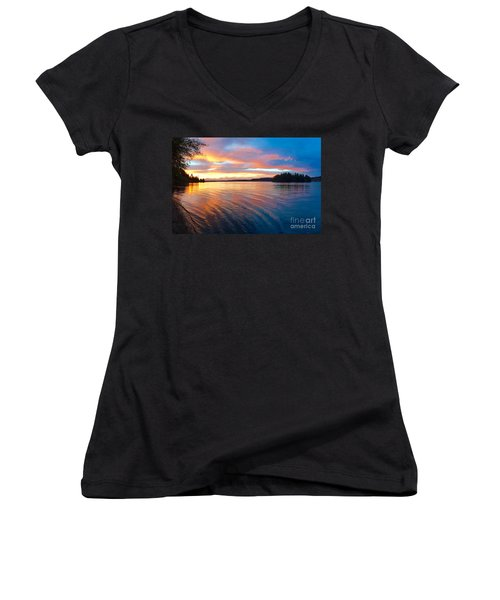 Red Sky At Night Women's V-Neck T-Shirt (Junior Cut) by Sean Griffin